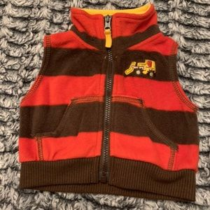 Newborn Red and Brown Striped Vest